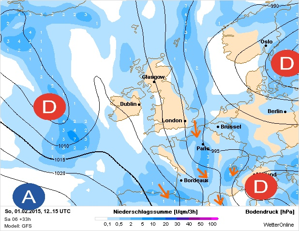 Bulletin météo du dimanche 01/02/2015